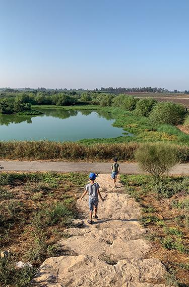 ילדים רצים בירידה מנקודת התצפית באגמון חפר בעמק חפר