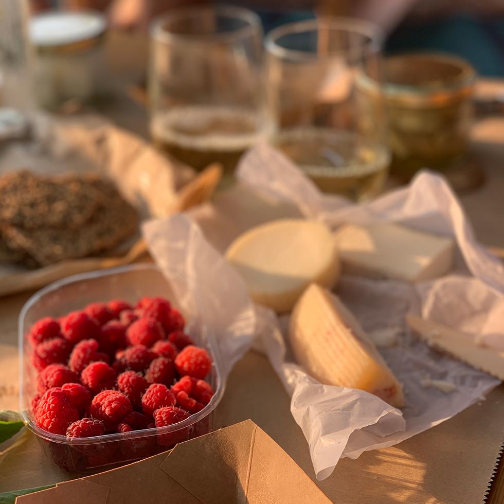 פיקניק עם גבינות ופטל אדום במשק שגיא פטל ארץ במושב תעוז במטה יהודה