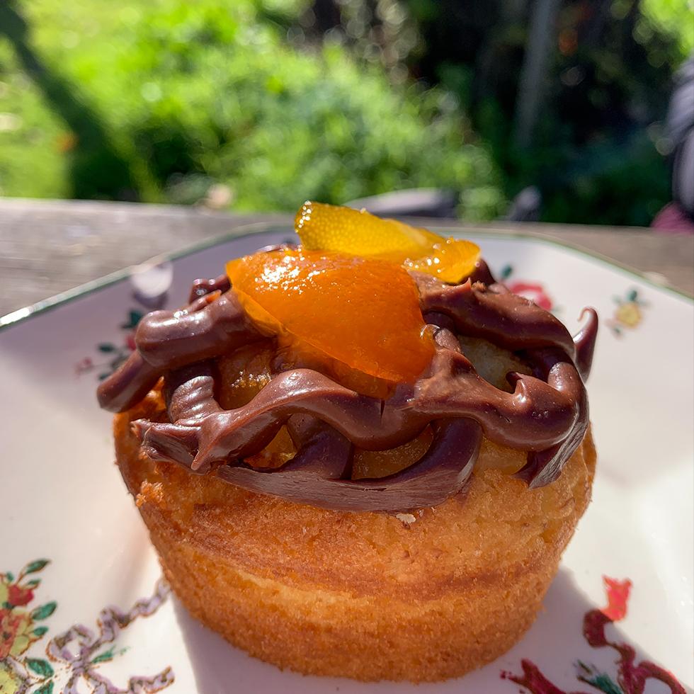 עוגת לימון עם קרמו שוקולד וריבת קומקוואט על צלחת פרחונית בגן היפה של אלורו בית ילין