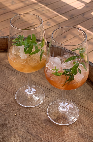 2 כוסות יין עם ליקר, קרח ועלי לואיזה במזקקת הולנדר